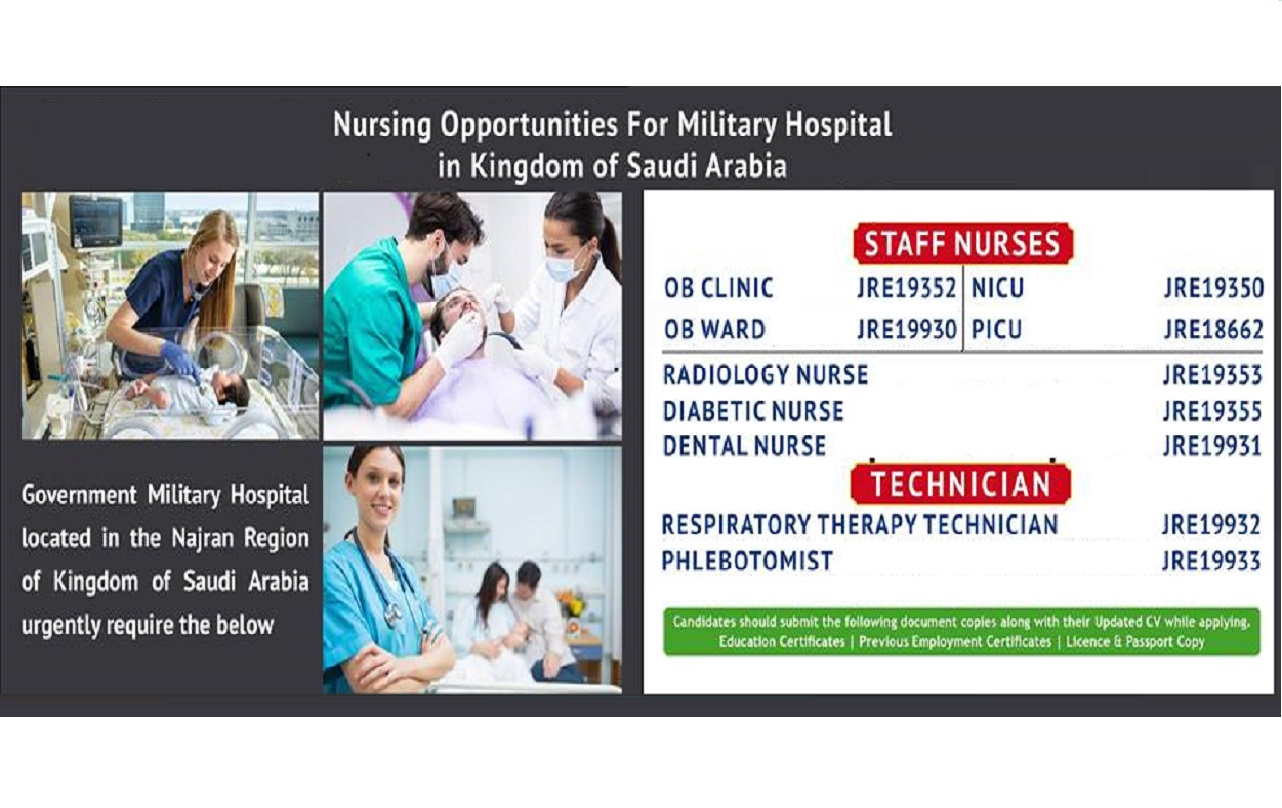 MILITARY HOSPITAL (MOD) IN  SAUDI ARABIA STAFF NURSE RECRUITMENT VIA JERRY VARGHESE