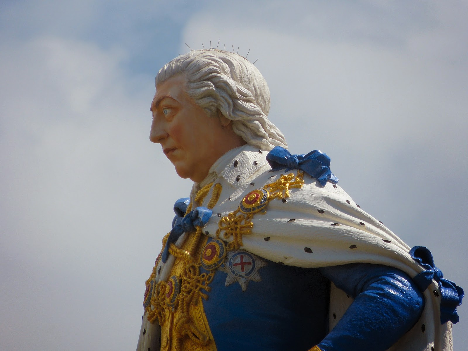 Close up of statue of George III, Weymouth seafront