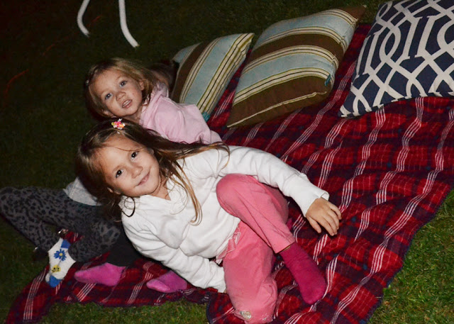 outdoor movie night, summertime fun, outdoor movie projector