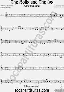 Partitura de Holly and The Ivy para Flauta Travesera, flauta dulce y flauta de pico Villancico Sheet Music for Flute and Recorder Music Scores