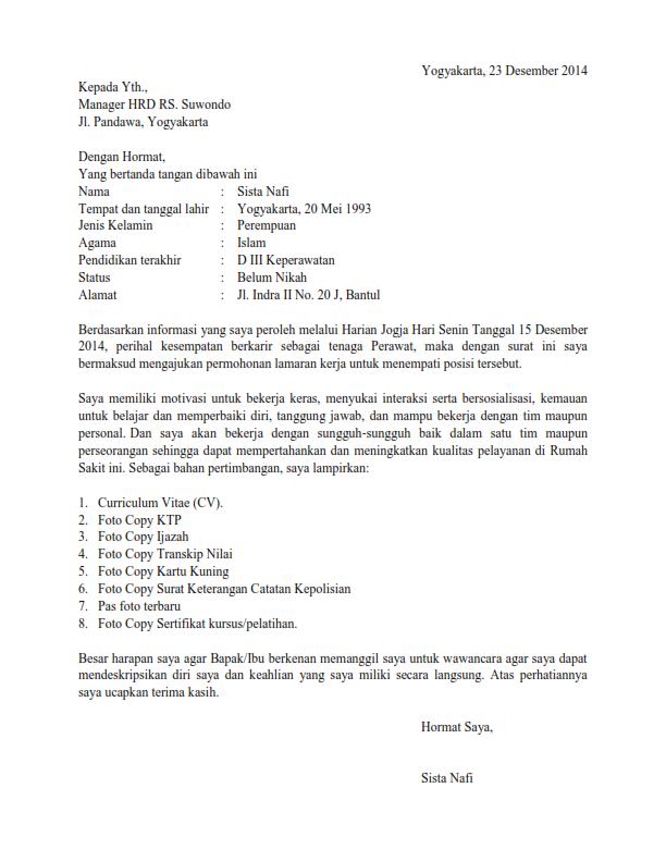 Contoh Surat Lamaran Kerja sebagai Perawat  Surat Lamaran XYZ