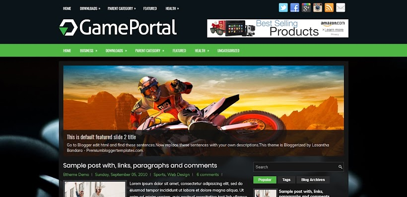 GamePortal Free Blogger Template