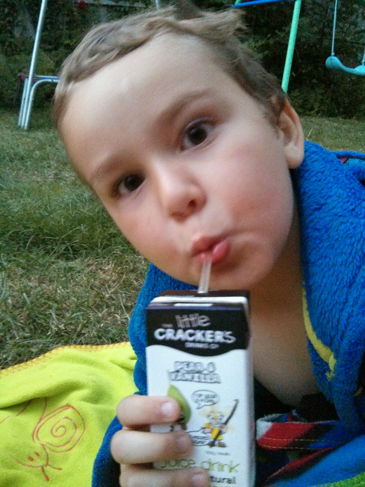 Big Boy slurping on a Little Cracker Juice Drink