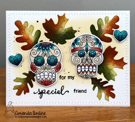 Skeleton card by Amanda Bodine | Beautiful Bones Stamp set by Newton's Nook Designs #newtonsnook #handmade