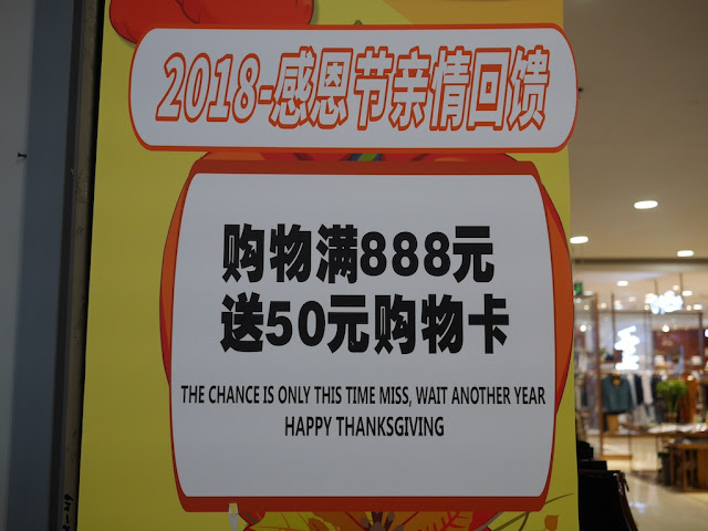 "sales sign with ""The Chance Is Only This Time Miss, Wait Another Year. Happy Thanksgiving"""
