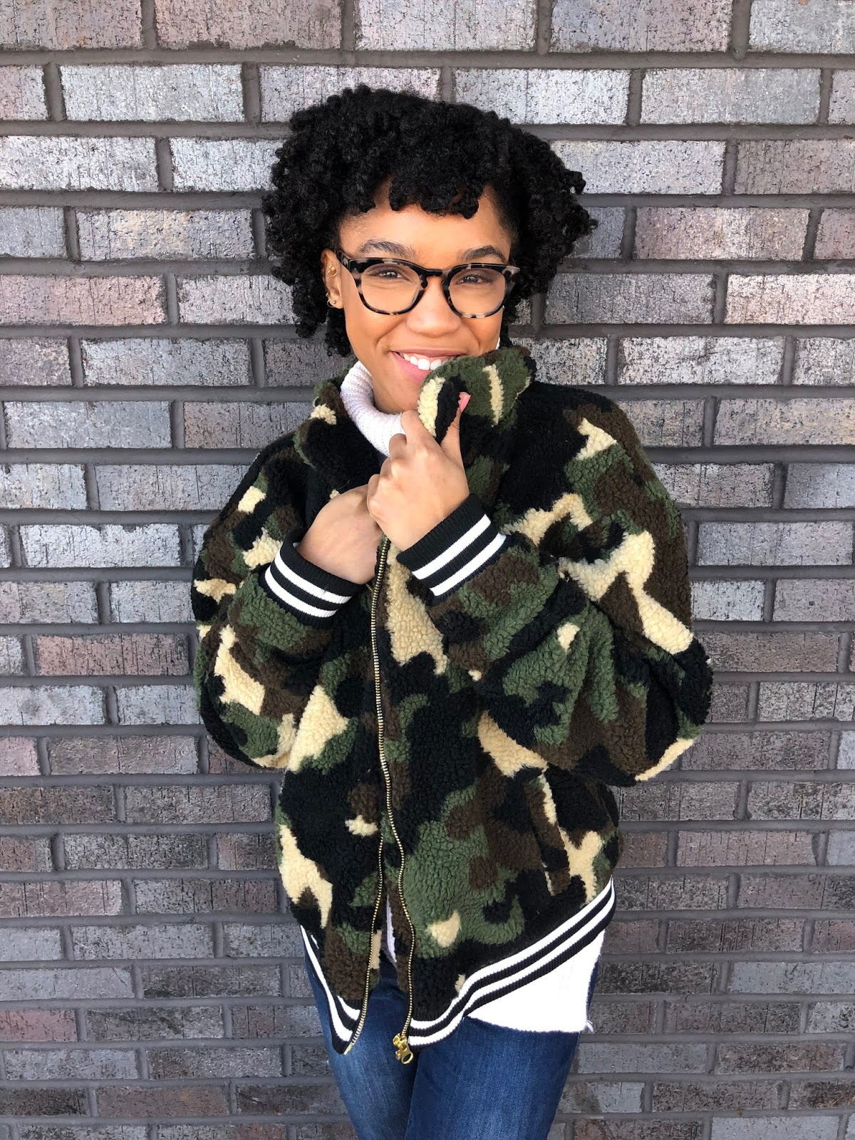bomber camo teddy jacket with white turtle neck sweater nc fashion and style blogger