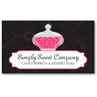 Today S Featured Business Card Is For The Candy Buffet Design Has A Beautiful Glass Jar Filled With Cans And Subtle Fl Background
