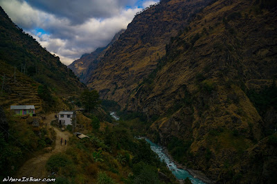the $10 a night hotel in Jagat had a view, Upper Marsangdi river nepal himalayas mountains valley snow caped WhereIsBaer.com Chris Baer