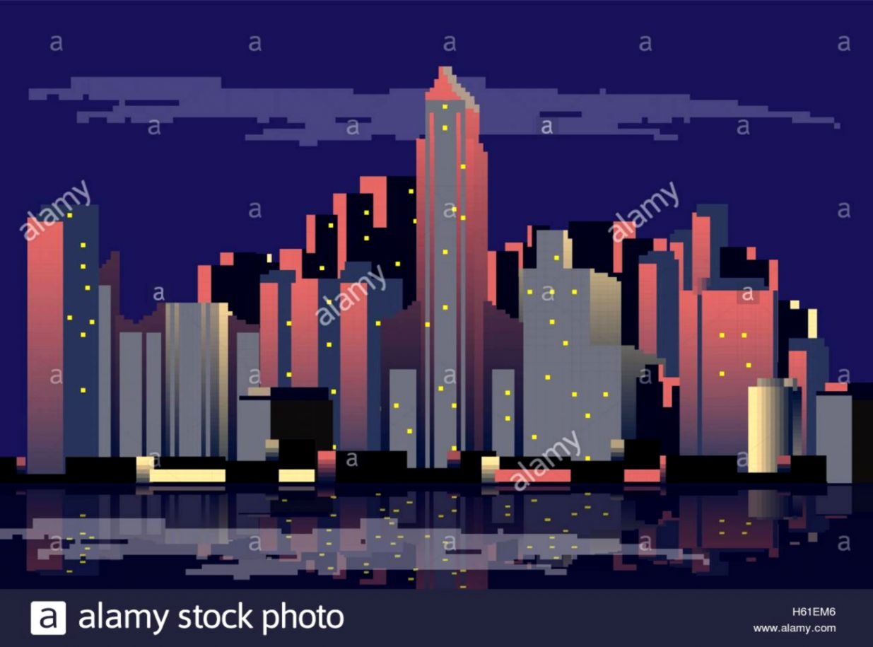 Retro City Skyline Background Vector Illustration Stock Vector