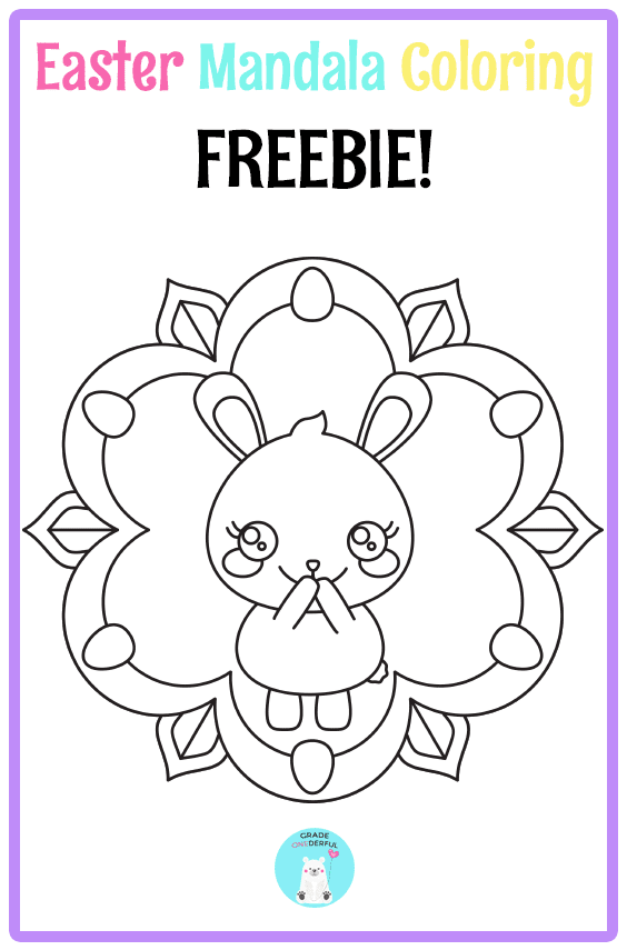 3 FREE Easter colouring sheets. Perfect for K to Grade 2. Two are egg-shaped and one is a mandala. GradeONEderful.com