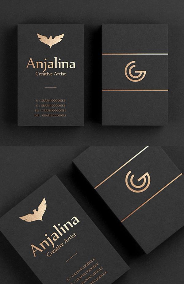 Gold Foil Business Card Mockup Design