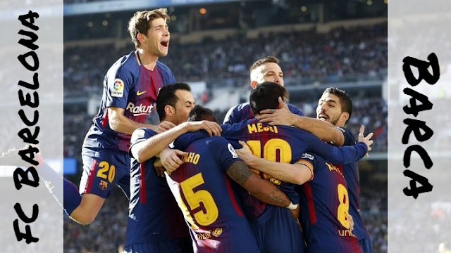 FC Barcelona players celebrating against Real Madrid