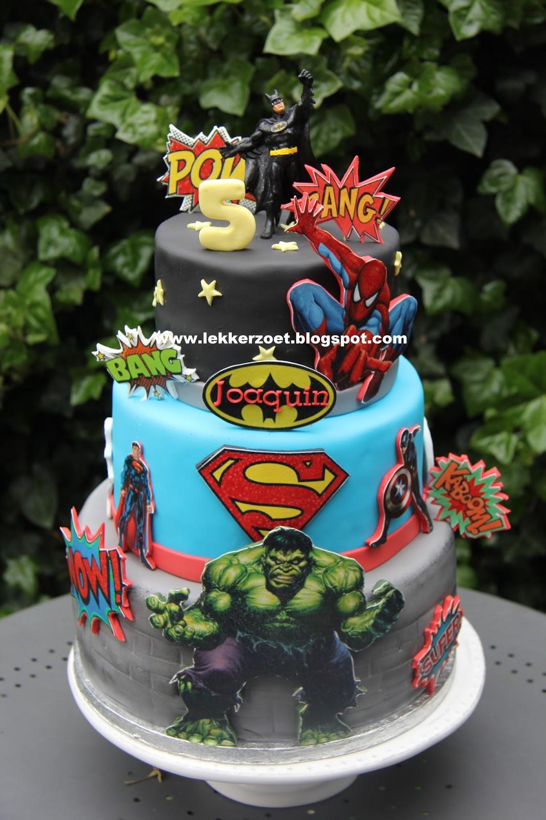 Bekend lekker zoet: super heroes taart en cupcakes superman, bathman  #HE-53