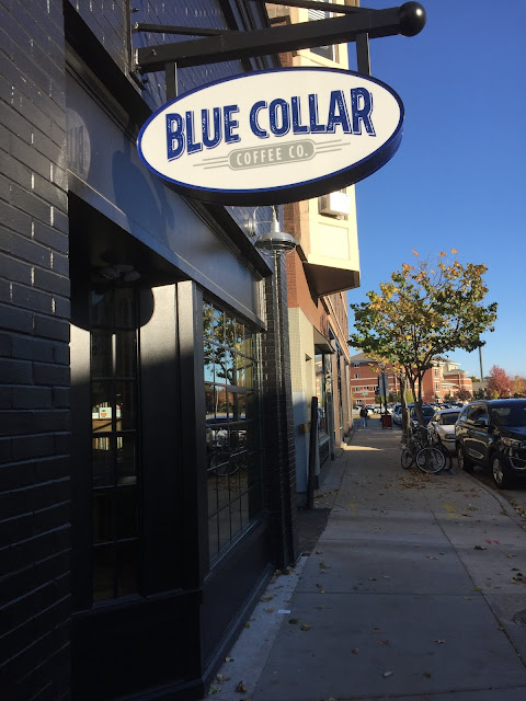 Time for coffee at Blue Collar Coffee Co. in Beloit, Wisconsin.
