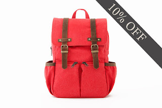 bright red holiday backpacks