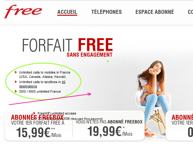 Free French unlimited calls and data package
