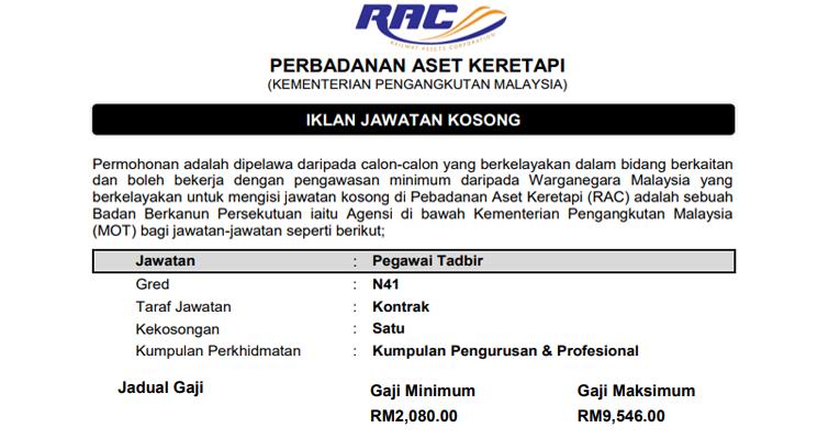 Jawatan Kosong di Perbadanan Aset Keretapi (Kementerian Pengangkutan Malaysia) - Terbuka