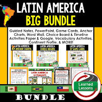 World Geography Latin America Bundle, Anchor Charts, Games, Guided Notes, Digital Choice Boards, Google Classroom, Word Walls