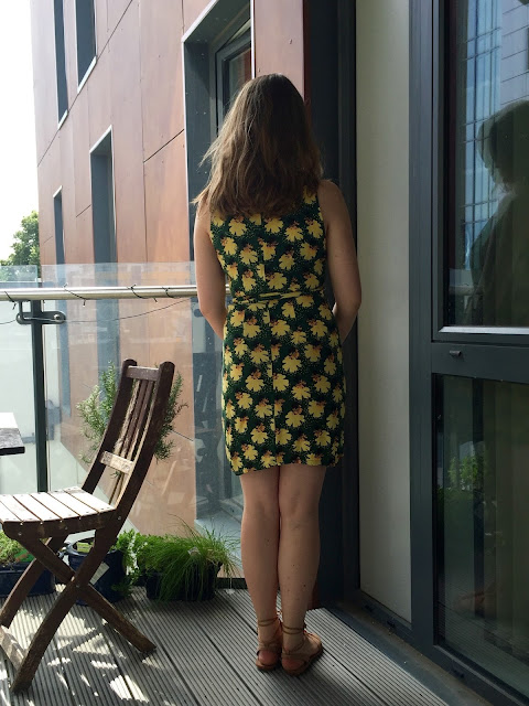 Diary of a Chain Stitcher: Named Patterns Kielo Wrap Dress in Anna Sui Floral Rayon Crepe from Mood Fabrics