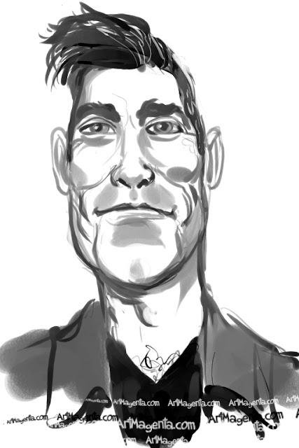Robbie Williams caricature cartoon. Portrait drawing by caricaturist Artmagenta