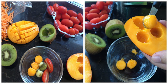 sacabolas de frutas para ensaladas kiwi, mango