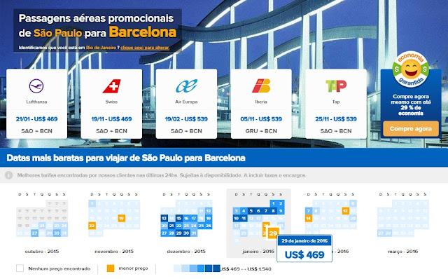 passagens em promoção para Barcelona