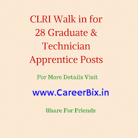 CLRI Walk in for 28 Graduate & Technician Apprentice Posts
