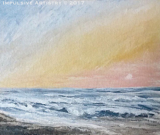 Ocean Sunrise Over Cape Hatteras, NC. Acrylic Seascape Painting + Video Tutorial!