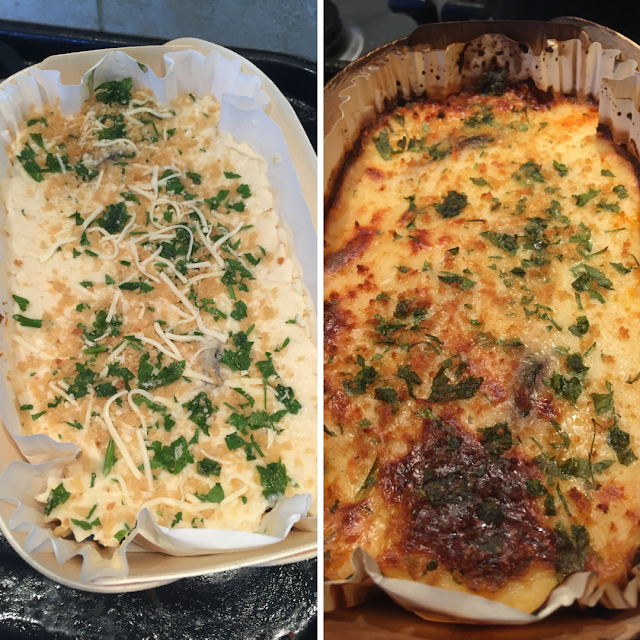 Charlie Bigham's moussaka before and after cooking