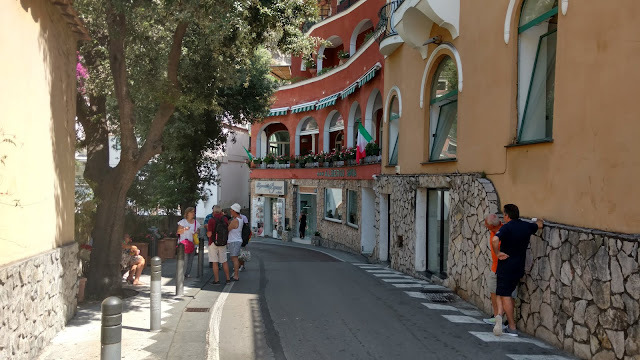 the street down to the beach in Positano