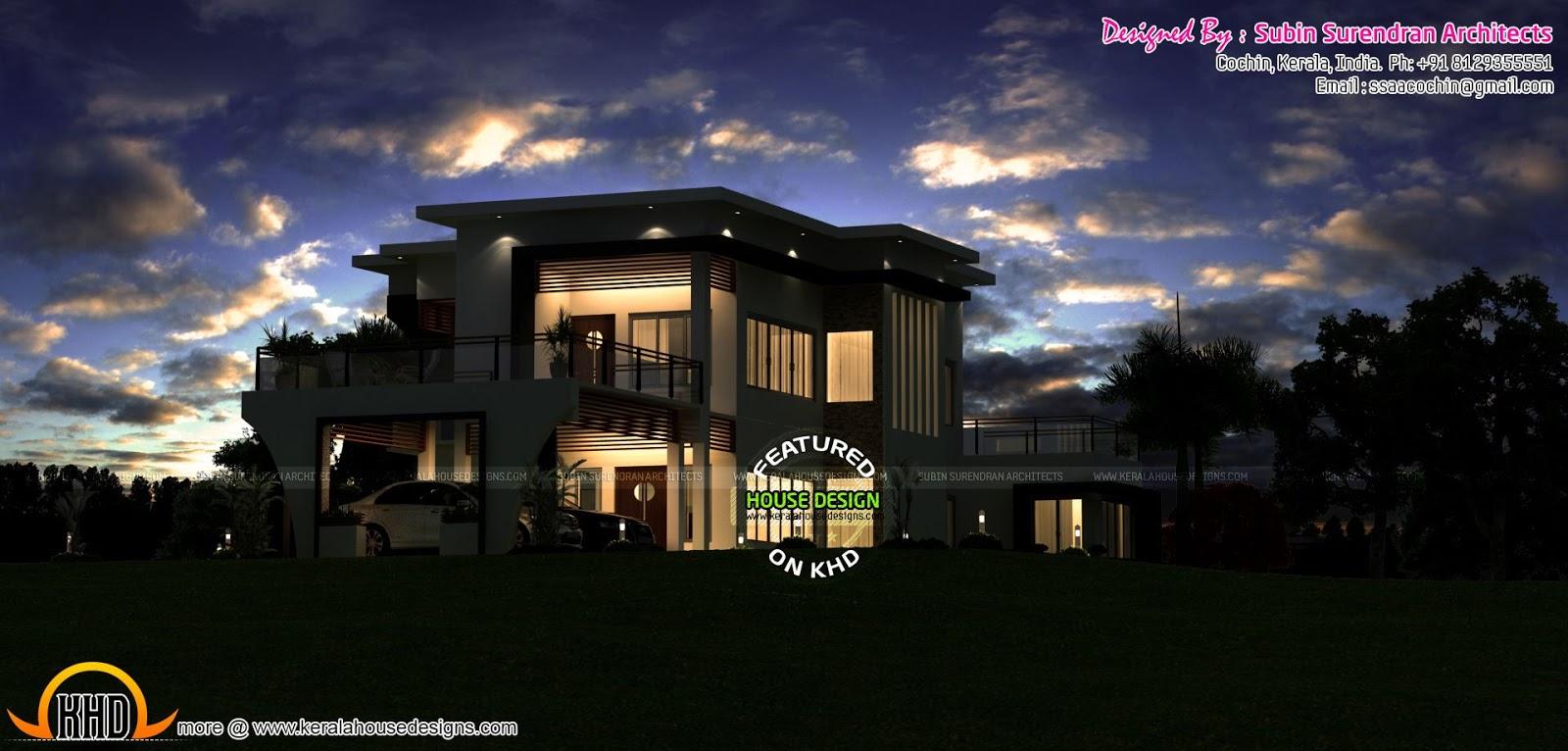 Beautiful Modern House In Night View Kerala Home Design
