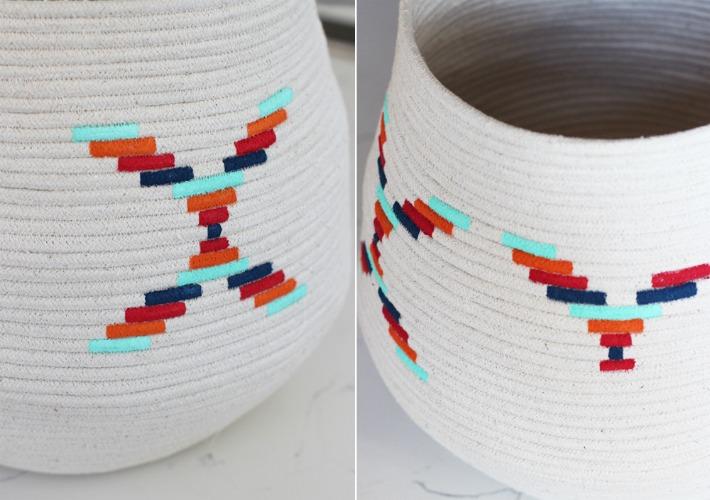 Decoración Fácil DIY decorar cestos de cuerda de algodón