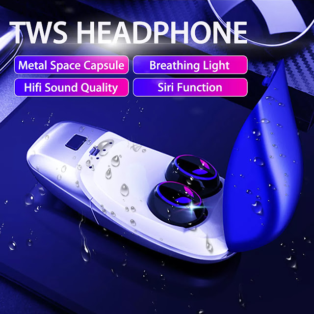 Portable Wireless bluetooth 5.0 Earphone HiFi Sound Smart Touch Noise Cancelling Bliateral Call Headphone with Charging Box