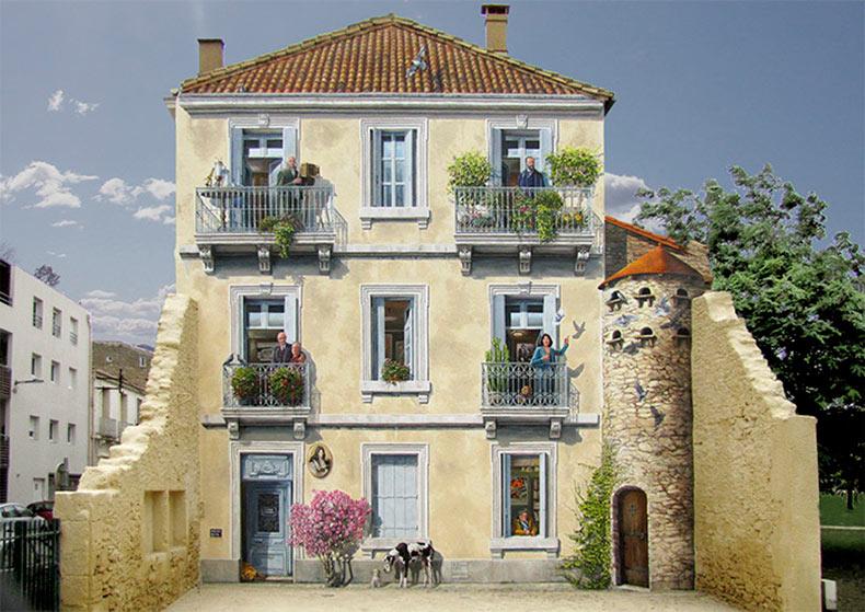 El artista francés convierte aburridas fachadas de edificios en dibujos llenos con vida