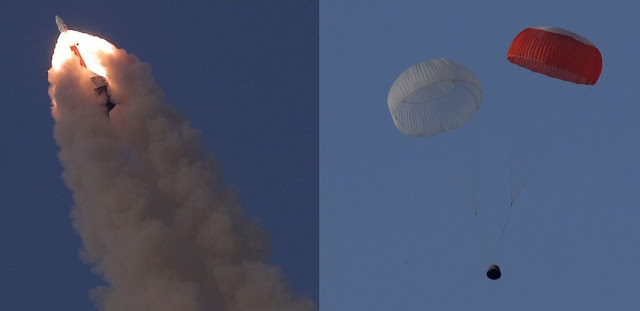 Left: the Crew Escape System and the crew module soar into the sky. Right: the crew module with parachutes deployed descends to the sea. Photo Credit: ISRO.