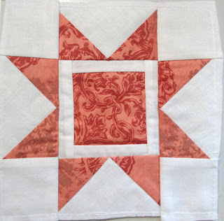 Red Sawtooth star foundation paper pieced