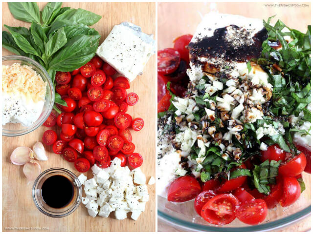 Ingredients For Hot Caprese Cheese Dip with Tomatoes, Basil, Balsamic Glaze, Mozzarella, Cream Cheese & Parmesan