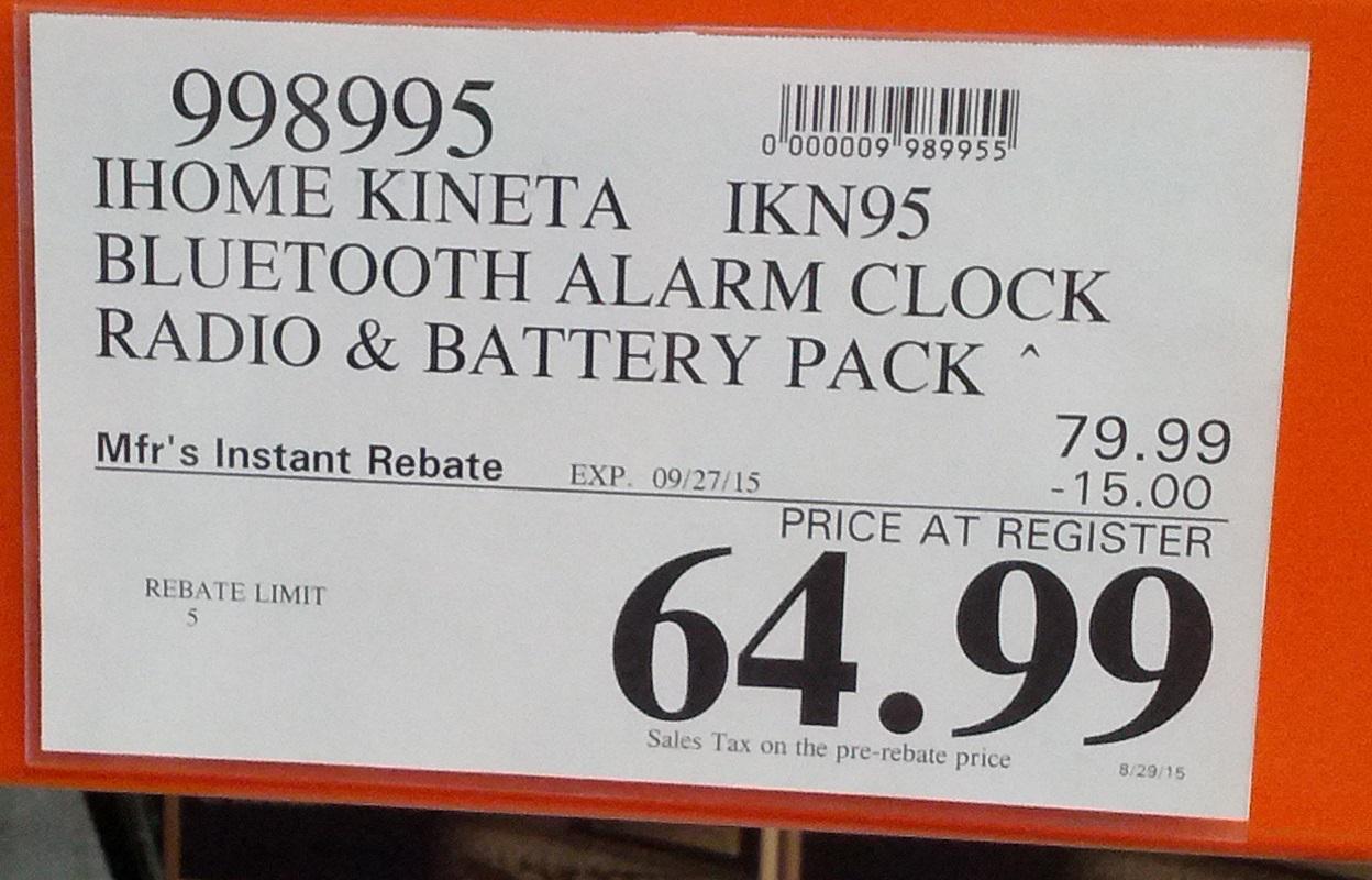 iHome Kineta IKN95 Bluetooth Alarm Clock Radio | Costco