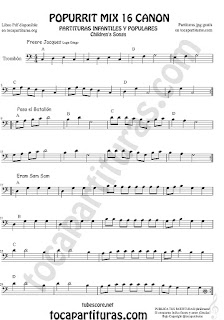 Partitura de Trombón y Bombardino Sheet Music for Popurrí Mix 16 Partituras de Freere Jacques, Pasa el Batallón, Eram Sam Sam Trombone and Euphonium Clave de Fa Partituras fáciles
