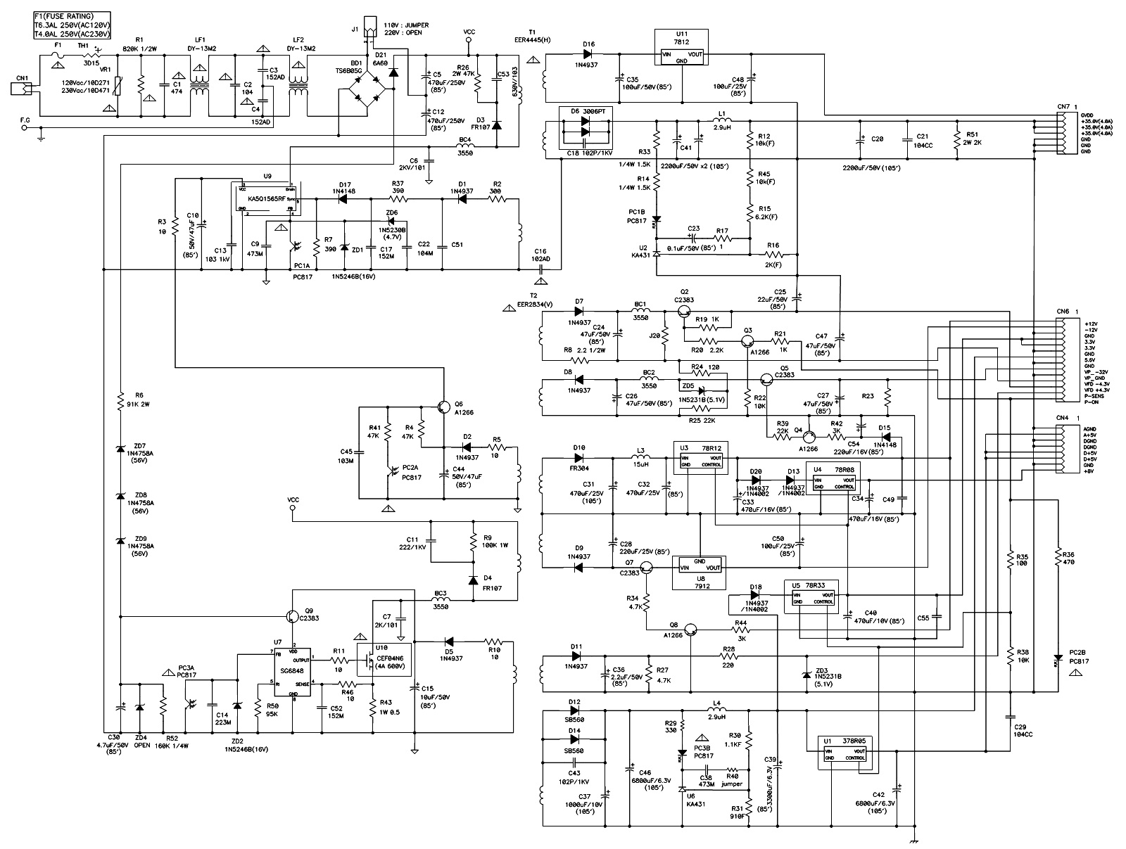 smps schematic diagram online shopping use case architecture samsung ht kp70 hts  and power amplifier circuit