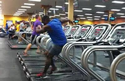 Guy dancing on tread mill video