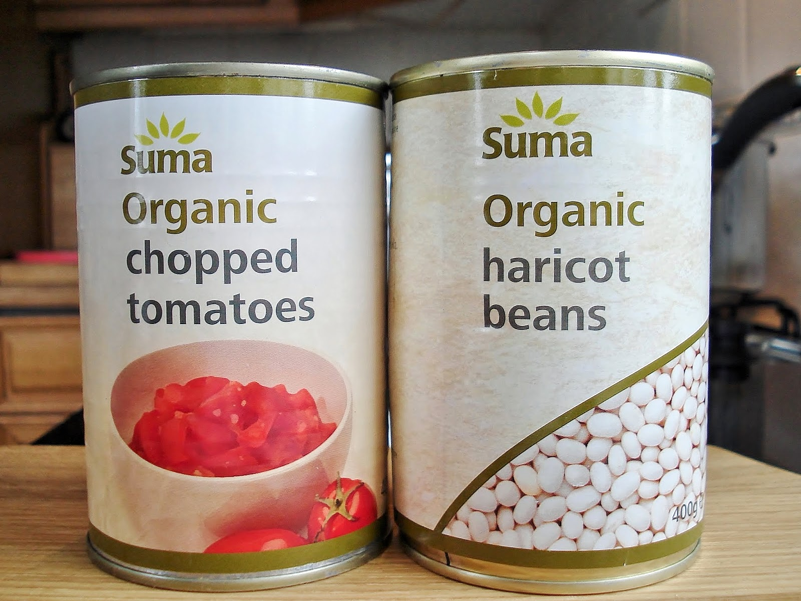 Tins of Suma Haricot Beans and Chopped Tomatoes