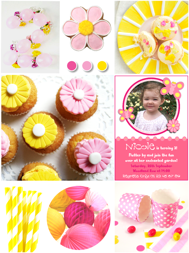 pink yellow garden birthday