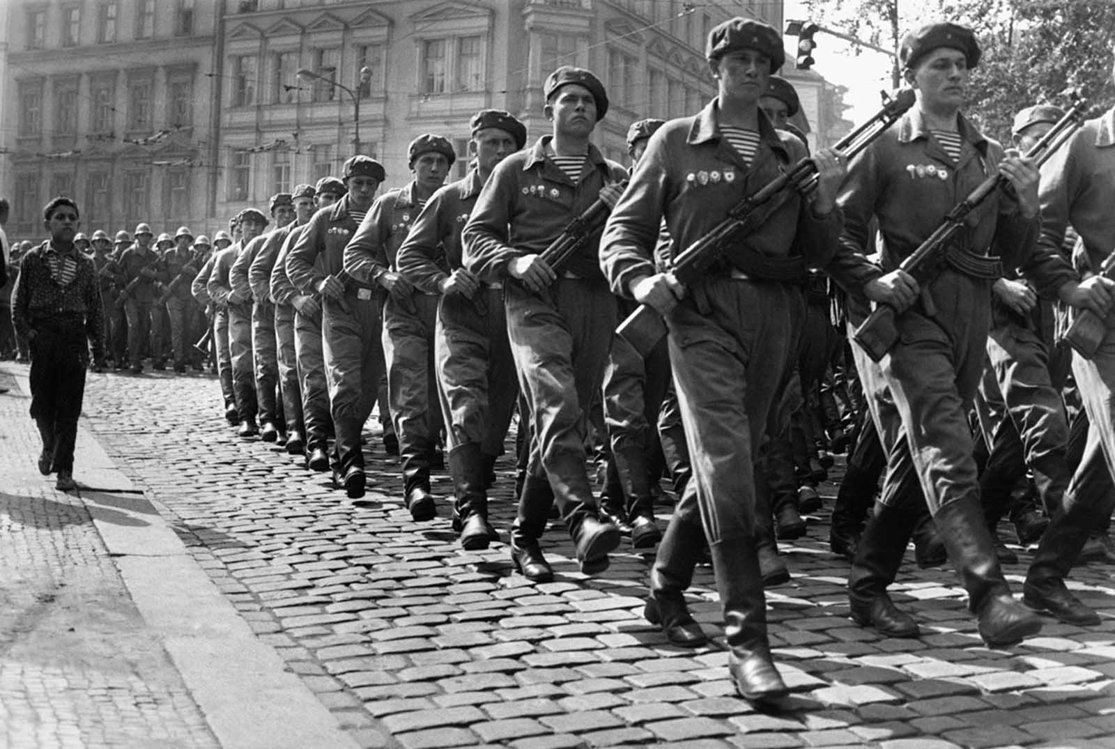 Soviet troops march through Prague in September 1968. After the invasion, a permanent Soviet presence was established in Czechoslovakia to prevent further reforms.