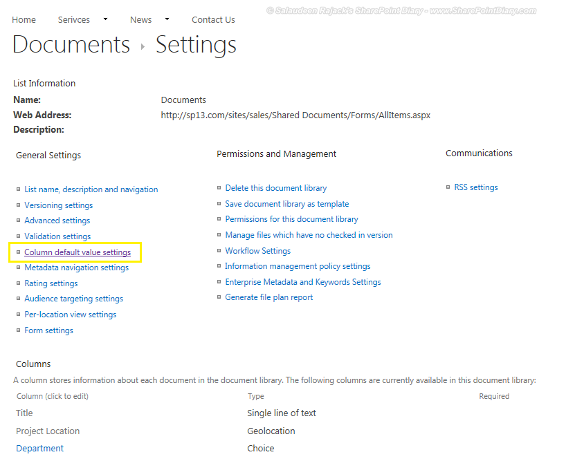 Column default value settings in SharePoint