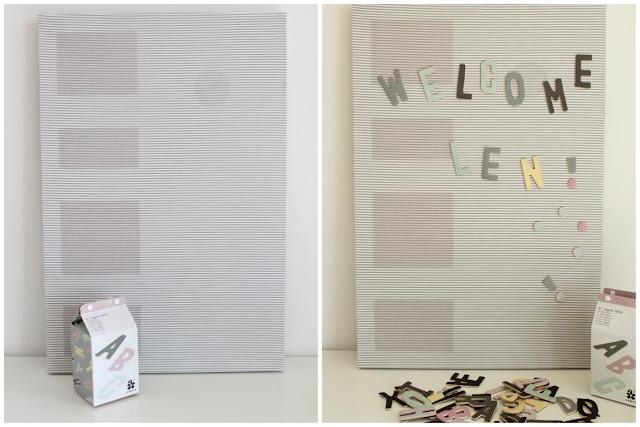 DIY Geburtskarten Anleitung Magnetwand skandinavisch schwarz weiss grau pastell Babyzimmer mit tausendkind und Jules kleines Freudenhaus