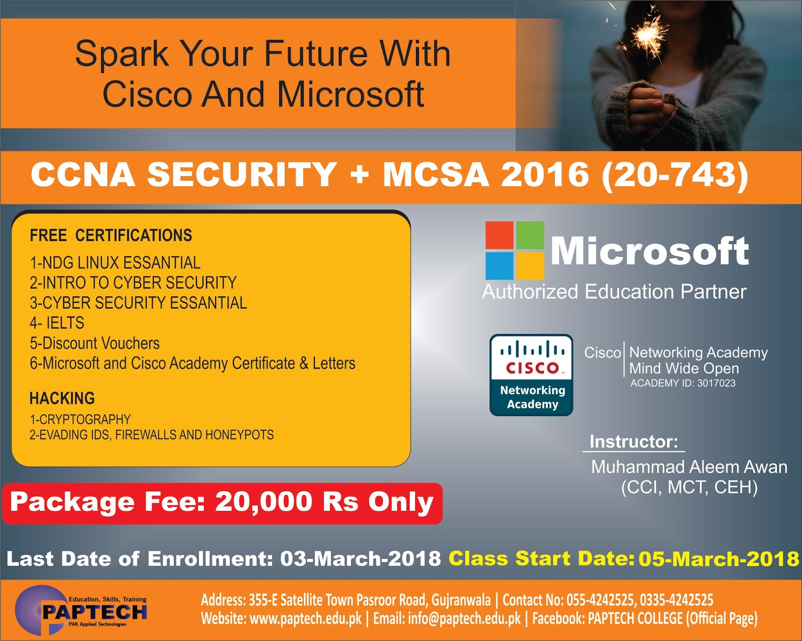 Paptech Solutions Gujranwala Ccna Security And Mcsa 2016