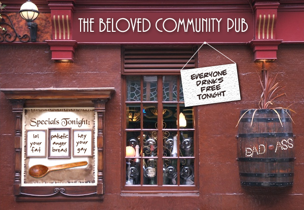 image of the exterior of a pub which has been photoshopped to be named 'The Beloved Community Pub'