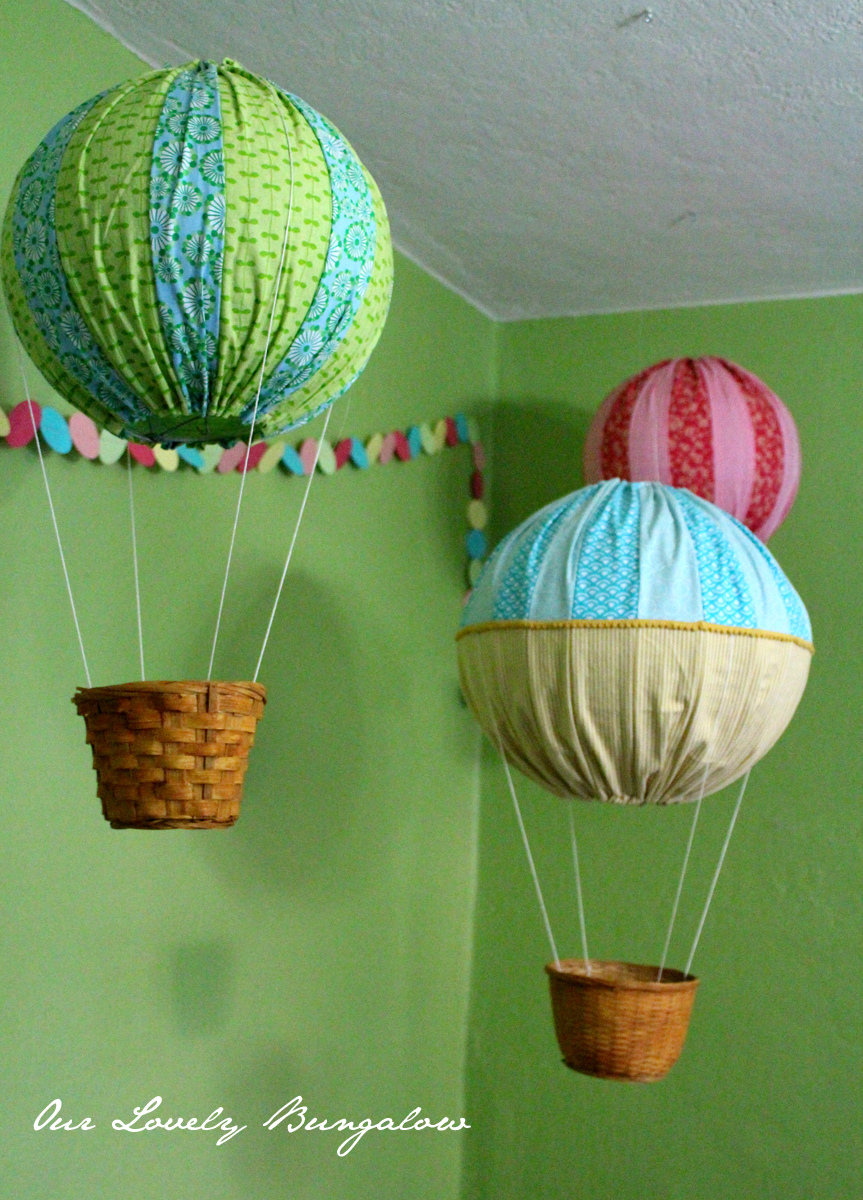I Found The Idea Of Using Paper Lanterns For Balloons On Fabric Glue Blog Also Used This Cute Hanging Hot Air Balloon Cut Out Etsy