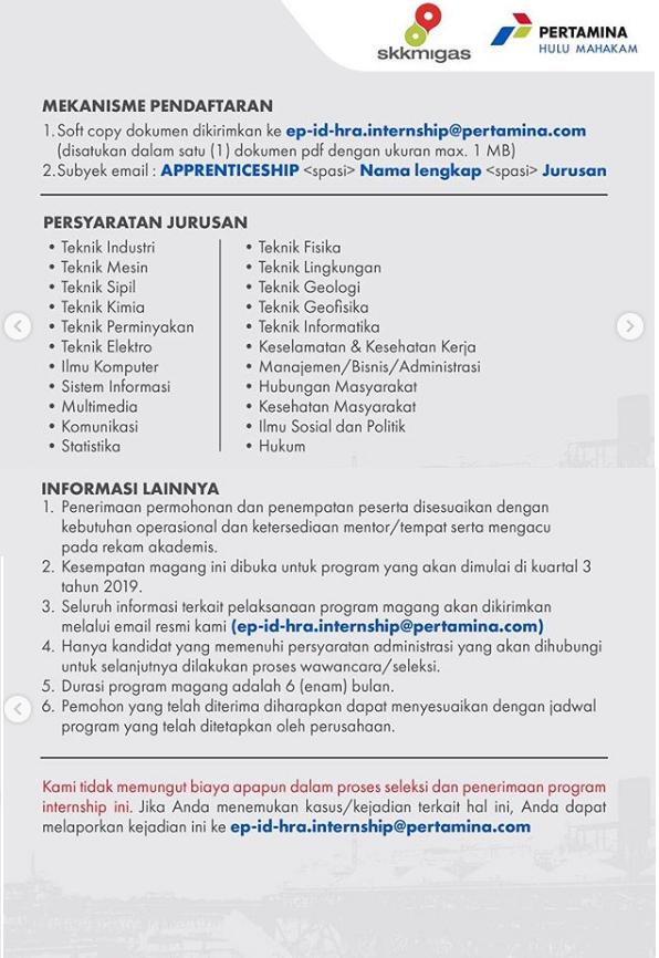 Lowongan Kerja Apprenticeship PT Pertamina Hulu Mahakam Besar Besaran April 2019
